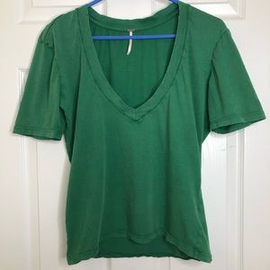 Free People Scoop V-Neck T-Shirt Green Size Small